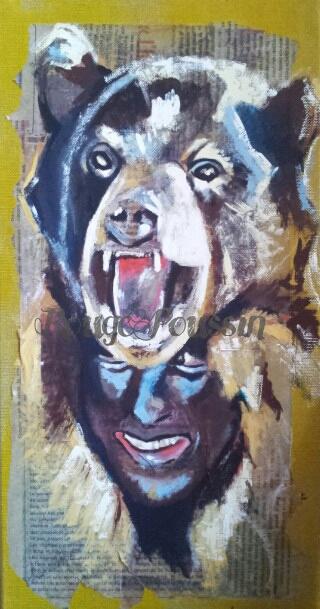 Tableau Acrylique de la fête de l'ours à Saint-Laurent-de-Cerdans