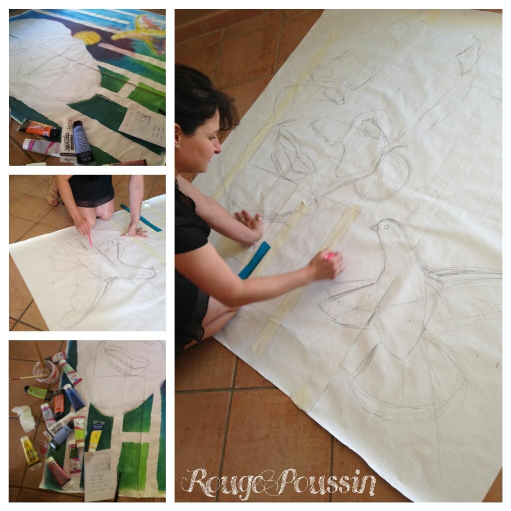 Préparation du tableau pour le concours de peinture à Toulouges