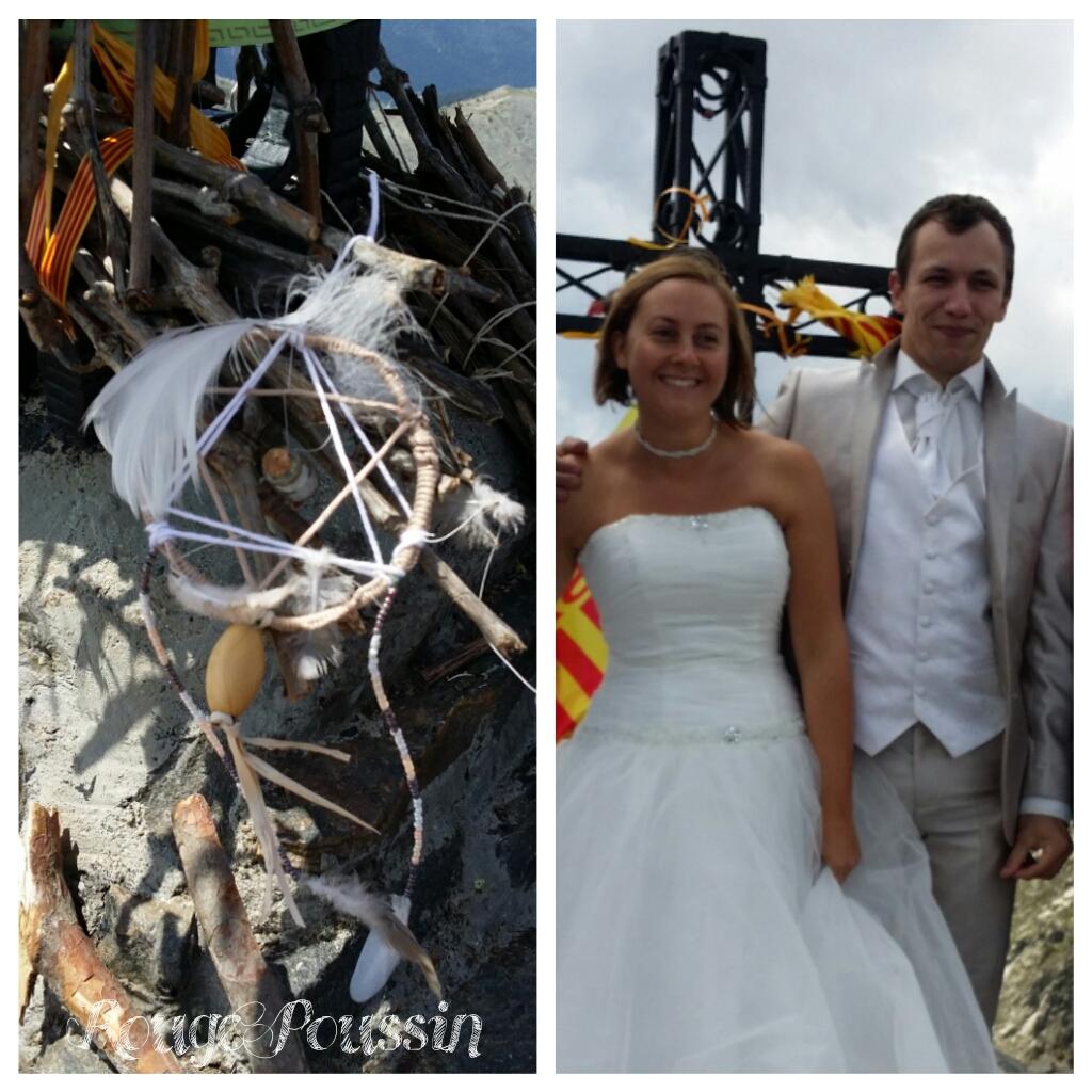 Attrape-rêve blanc et les mariés du Canigou