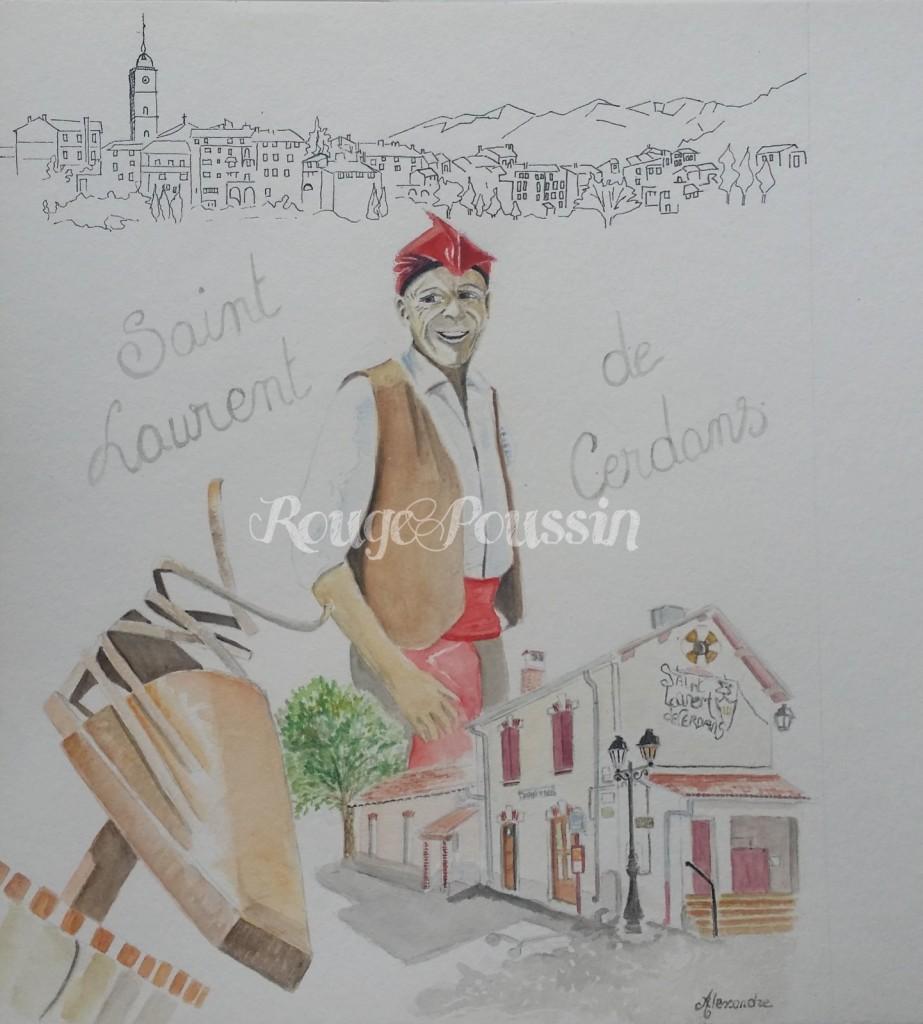 """Aquarelle de Carole Alexandre intitulée """"Le muletier"""""""