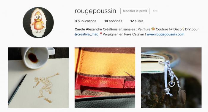 Page d'accueil Instagram de Rouge Poussin