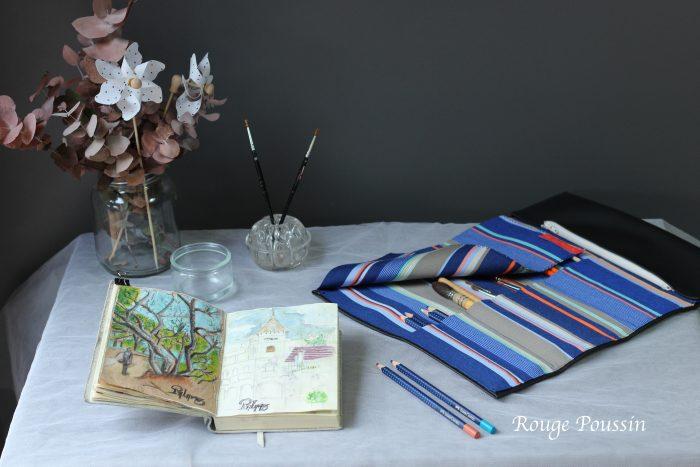 Trousse à pinceaux Tissu bleu et dessus simili cuir
