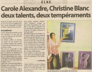 Article pour l'exposition de Carole Alexandre à Elne en 2005