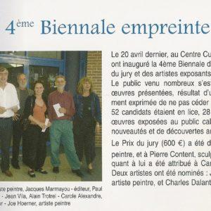 Article prix du public décerné à Carole Alexandrelors de la 4 éme Biennale de Cabestany