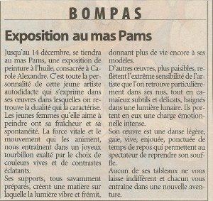 Article journal exposition à Bompas au Mas Pams en 2003