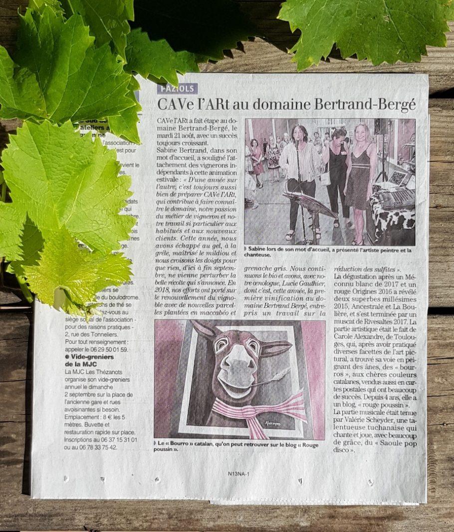 Article de L'indépendant de l'Aude sur CAVe l'ARt qui s'est déroulé à Paziols.
