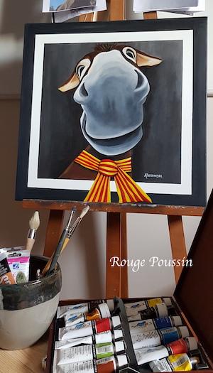 Portrait à l'acrylique d'une ânesse catalane