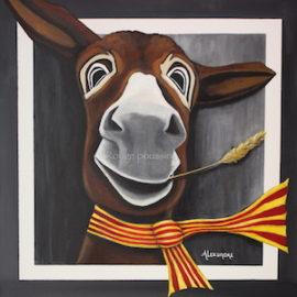 Peinture acrylique représentant un âne catalan.