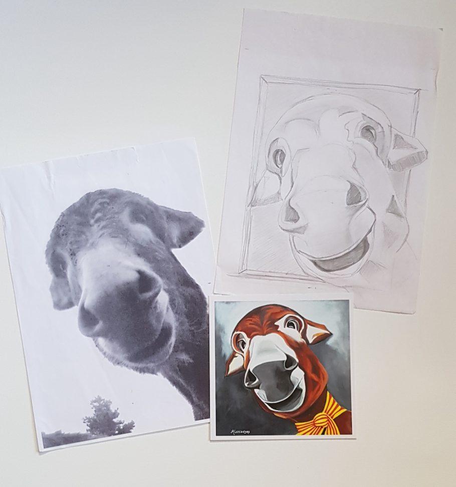Portrait à l'acrylique d'Anatole : un âne qui existe vraiment.