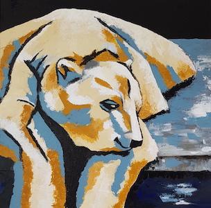 Tableau représentant un ours polaire.