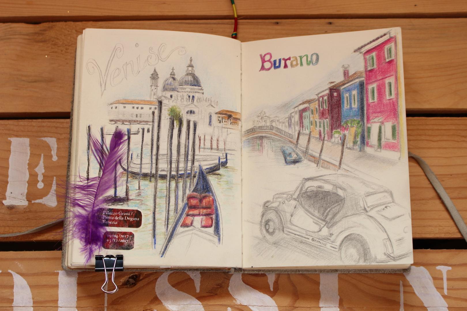 Croquis sur Venise et Burano en Italie
