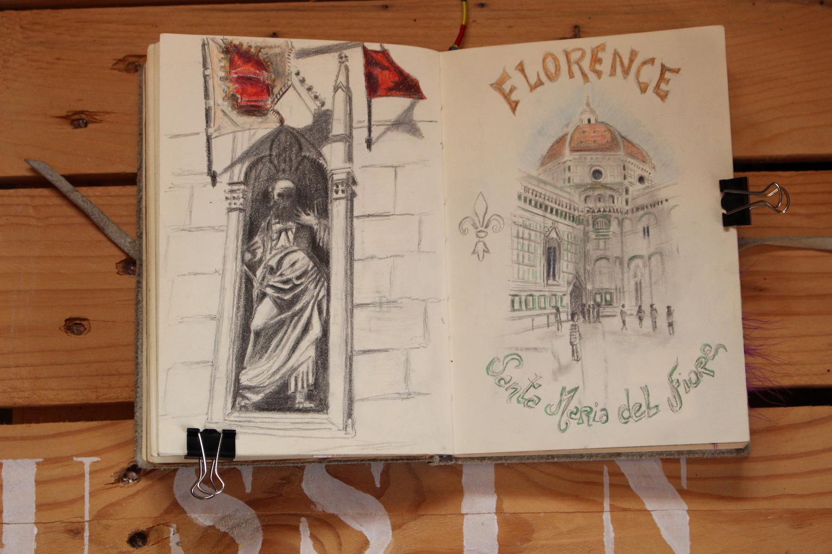 """Croquis de """"la Santa Maria del Fiore"""" et d'une statue."""
