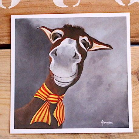 Carte postale représentant le portrait d'un âne catalan