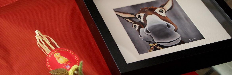 Carte postale portrait d'âne encadrée