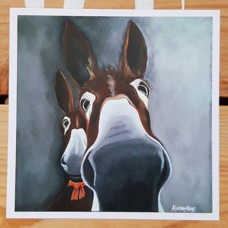 Carte postale de 1,2,3 ... Soleil ! est la reproduction d'un tableau représentant le portrait de deux ânes.