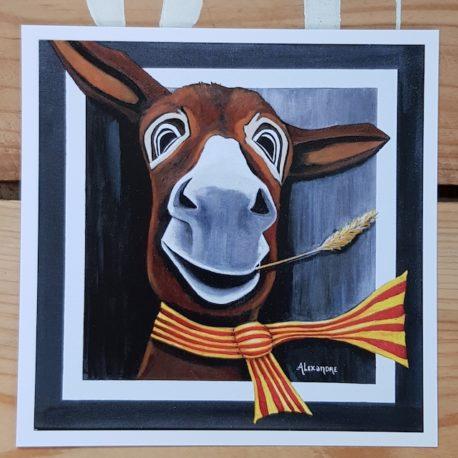 La carte postale Célestin représente le portrait d'un âne au tempérament aventurier.