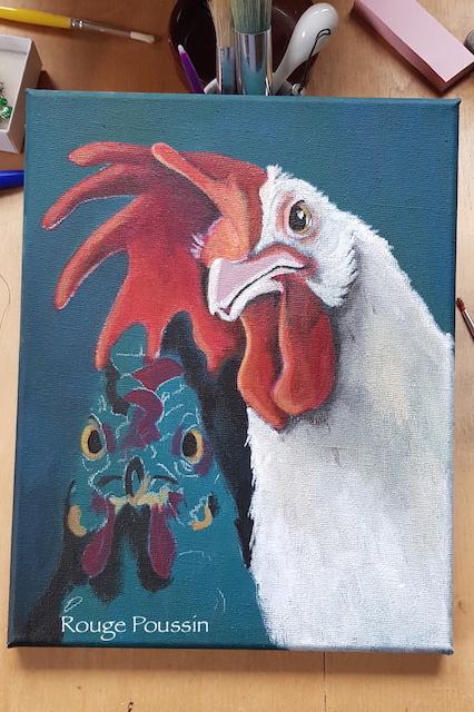 """Réalisation en cours d'un tableau représentant le portrait d'une poule et d'un coq. La série s'intitule """"Viens ma poule, on se casse""""."""
