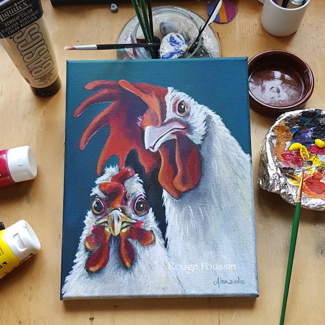 """Portrait d'une poule et d'un coq à l'acrylique. Le quatrième tableau de la série intitulée : """"Viens ma poule, on se casse""""!"""