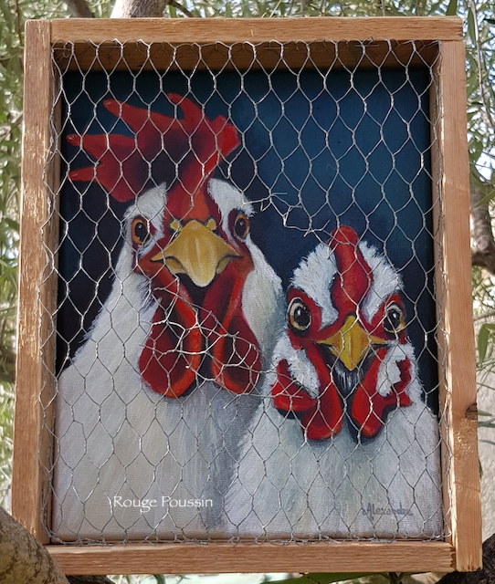 Tableau d'une poule et d'un coq avec un encadrement grillagé et légèrement ouvert.