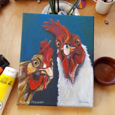 Peinture à l'acrylique de Carole Alexandre, représentant le selfie de deux coqs.