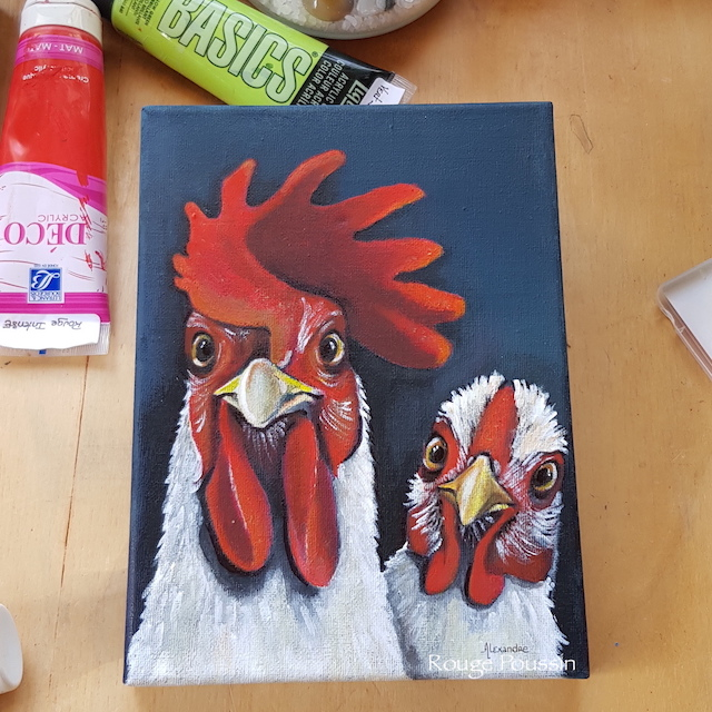 """Peinture à l'acrylique d'une poule et d'un coq. Le troisième de la série intitulée : """"Viens ma poule, on se casse""""! réalisée par l'artiste peintre Carole Alexandre en juillet 2019."""