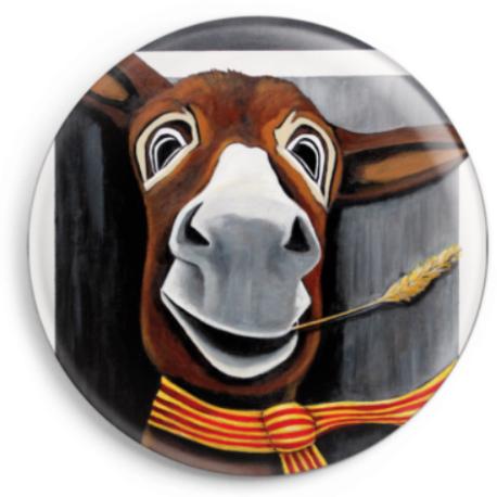 Le magnet Célestin représente le portrait d'un âne catalan, reproduction du tableau réalisé à l'acrylique par l'artiste peintre Carole Alexandre