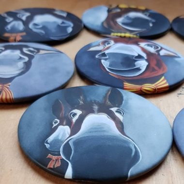 Magnets représentant des ânes catalans qui ont été réalisés tout d'abord sur toile, à l'acrylique par l'artiste peintre Carole Alexandre.